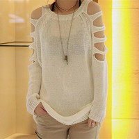 Strapless Pullover Long Sweater beige