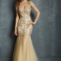 Night Moves 7047 Champagne Gold Size 2 Sale Prom Dress
