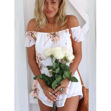 Fashion White Flowers Printed Tube Chiffon Rompers