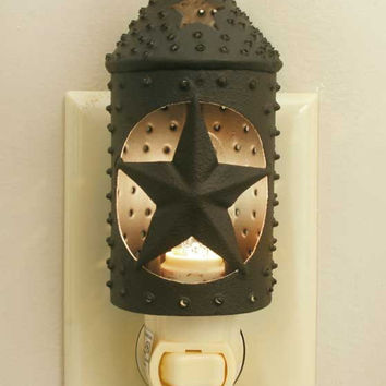 Primitive Country Punched Star Paul Revere Night Light - Rustic Brown