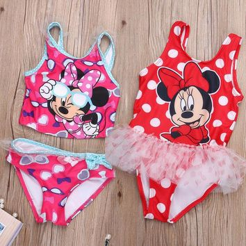 DCCKHG7 Cute Cartoon Micky Minnie Toddler Girls Swimwear Kids Bikini Sets Summer Children Swimsuit Baby Girls Tankini Swimwear