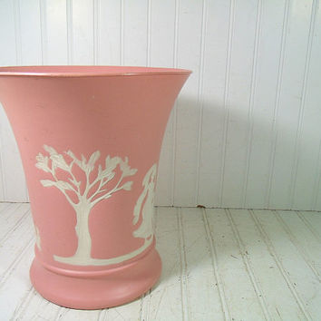 Vintage Pink PlastiWare Vase Look Waste Can - Early Plastic Wedgwood Style Boudoir Bin - Graceful Flared JasperWare Design Embossed Planter