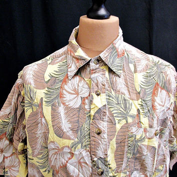 Vintage Yellow Hawaiian Shirt Large