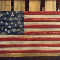 Wood American Flag Wall Hanging