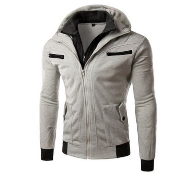 Men Casual Hoodies Fleece Thicken Hats Men's Fashion Jacket [6528648131]