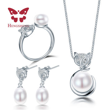HENGSHENG Silver Fox Animal Necklace Earring Ring Jewelry Set for Women Pendant 925 sterling silver jewlry packaging box