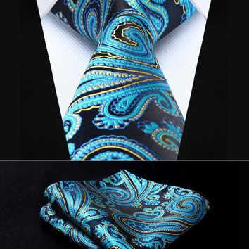 "TP933B8S Blue Yellow Paisley 3.4"" Silk Woven Men Tie Necktie Handkerchief Set Party Wedding Classic Pocket Square Tie"