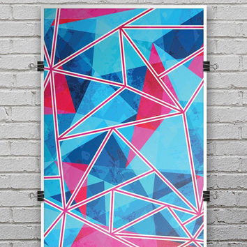 Vivid Blue and Pink Sharp Shapes - Ultra Rich Poster Print
