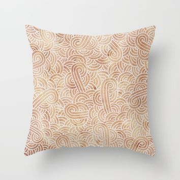 Iced coffee and white zentangles Throw Pillow by Savousepate