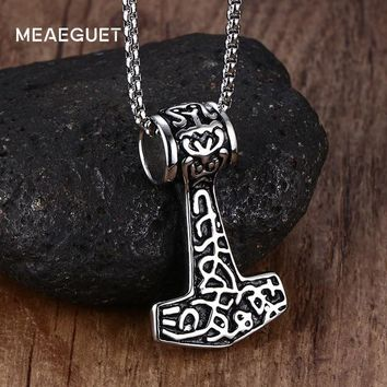 Meaeguet Punk Stainless Steel Thor Hammer Mjolnir Choker Viking Amulet Scandinavian Pendant Necklace Norse Men Jewelry