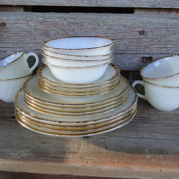 Vintage fireking Golden Anniversary dish set, wedding table dishes, vintage milk glass w/ gold rim, bridal registry, vintage fireking dishes