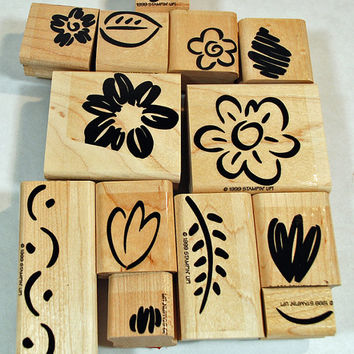 "Stampin Up Stamp Set - Stampin Up Rubber Stamps - RETIRED -  MINT - ""Fanciful Flowers"" - Scrapbooking, Craft Stamps, Collage Stamps"