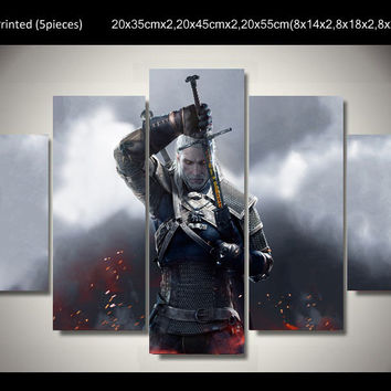 2016 Framed Printed witcher 3 wild hunt geralt 5 piece painting wall art children's room decor poster canvas Free shipping