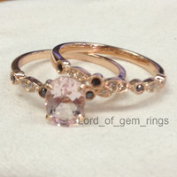 Oval Morganite Engagement Ring Sets Clear/Black Diamonds 14K Rose Gold, 6x8mm Art Deco Antique