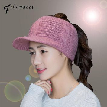 Fibonacci Autumn Winter Rabbit Hair Knitting Baseball Hats For Women Empty Top Visor Sports Fitted Hats Thick Warm Fashion Cap