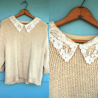 1980s. oatmeal knit top with lace collar. s-l