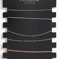 Women's Topshop Delicate Mixed Chain Link Bracelets - Gold Multi (Set of 6)