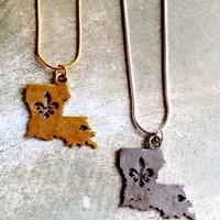 Fleurty Girl - Everything New Orleans - Hammered Metal Louisiana with Fleur de Lis Inset Necklace - Footwear & Accessories