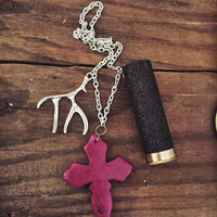 Purple Cross with Black Glitter 12 Gauge Shotgun Shell and Deer Antler Charm