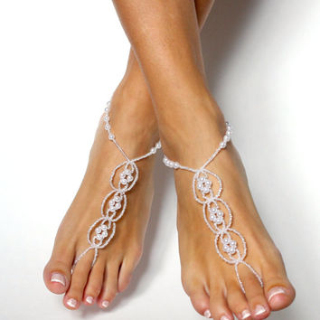 Pearl Destination Wedding Shoes White Beaded Barefoot Sandals Shoeless Sandals Anklet Foot Jewelry