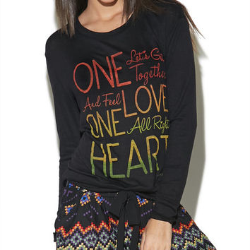 One Love One Heart Long Sleeve Top | Wet Seal