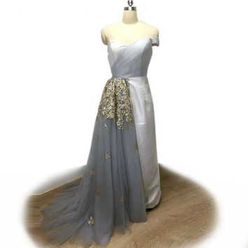 Sheath Removable Train Tulle Evening Dress Hand-made Flowers Long Party Dresses