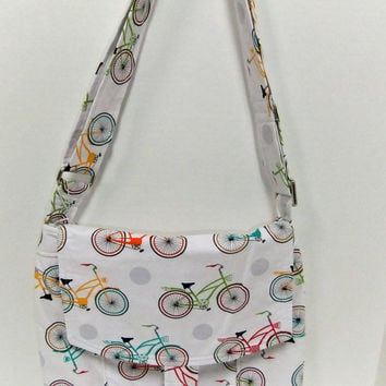Medium Messenger Bag - Bike - crossover purse - with colorful bike  fabric