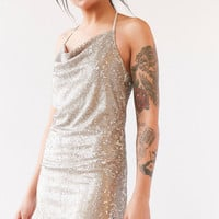Wyldr London Superstitious Cowl-Neck Sequin Dress | Urban Outfitters