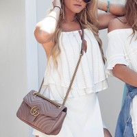 The Tides Tan & White Tie Halter Top