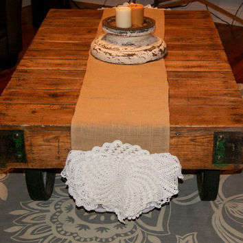 Wedding Table Runner Burlap Jute Vintage Lace Crochet Doily Ivory Rustic Luxurious