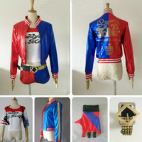 Customize Handmade Costume Harley Quinn Costume Party Costume Jacket Shirt Pants Belt Glove, 5 Pcs (Read the size!)