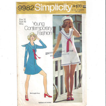 Simplicity 9982 Pattern for Misses' Sailor Style Mini Dress, Pant Dress, Tie, Size 18, From 1972, Vintage Sewing Pattern, Home Sew Pattern
