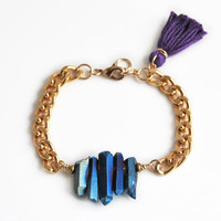Raw stone bracelet, titanium quartz bracelet with tassel charm, raw crystal bohemian bracelet with chain
