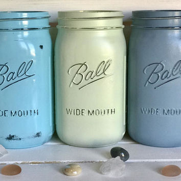 Beach Wedding - Rustic Mason Jars - Mason Jar Centerpiece - Nursery Decor - Baby Boy Gifts - Blue Baby Shower -Beach Blues - Spring Decor