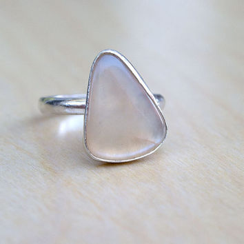 Moonstone Sterling Silver Ring, Boho Ring, Gemstone Ring, Free Form, Statement Ring, Hippie Jewelry, Bohemian, Gypsy Style, Ready to Ship