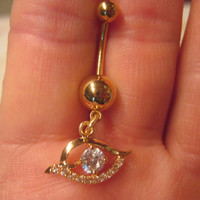 Evil Eye Belly Button Navel  Ring Clear Crystal Rhinestones Barbell Naval