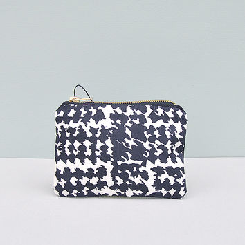 Monochrome Silk and Denim Pouch by Desire Lines