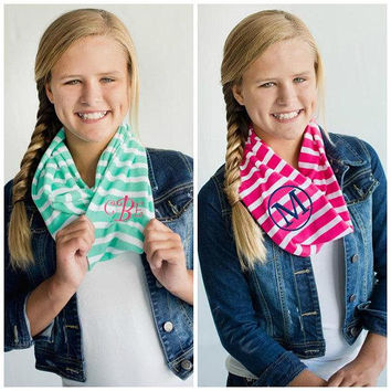 Monogrammed Kids Infinity Scarf Personalized Kids Scarf Monogrammed Girls Scarf Embroidered Mint Green Hot Pink Girls Infinity Scarves Soft