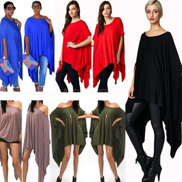 Womens Sexy Oversized Asymmetric Tunic Poncho Cape Top Blouse Shirt Mini Dress [8833595916]