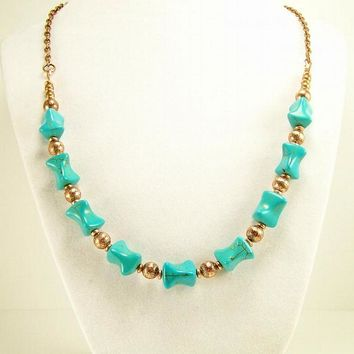 Turquoise and Copper Beaded Necklace, Unique Bead Necklace, Beaded Jewelry