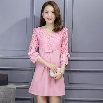 Maternity Breast Feeding office Dresses pregnant woman Red/Pink Lace Formal pregnancy Dresses Nursing wear sale work Clothes