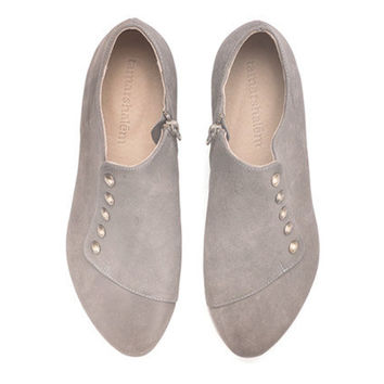 Handmade leather shoes, Gray shoes, Grace, grey, flats, by Tamar Shalem on etsy
