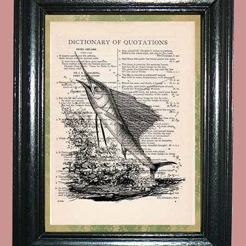 Deep Sea Sailfish - Vintage Dictionary Page Book Art Print Upcycled Book Art Print on Dictionary Page Collage Art Sailfish Print