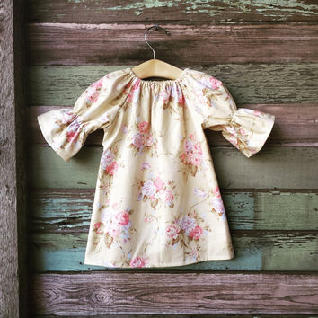 Girls Floral  Dress, Baby Girls, Three Quarter Bell Sleeves, Yellow Floral, Shabby Chic Easter Dress, Roses, coming home outfit,
