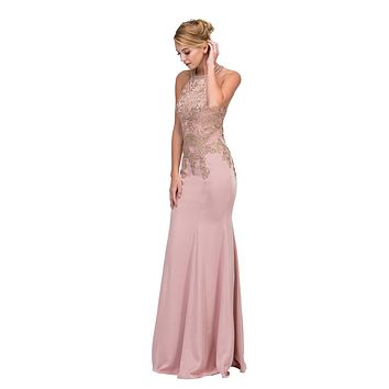 Blush Embroidered Mermaid Long Prom Dress Racer Back