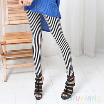 Free Hot Fashion Women's Black White Vertical Stripes Leggings Free