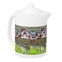 Transylvania, Romania, Picturesque Painted Scenery Teapot