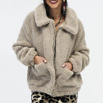 Stealing Hearts Taupe Faux Sheep Coat