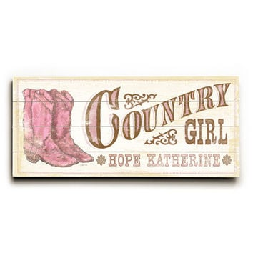 Personalized Kids Country Girl Wood Sign