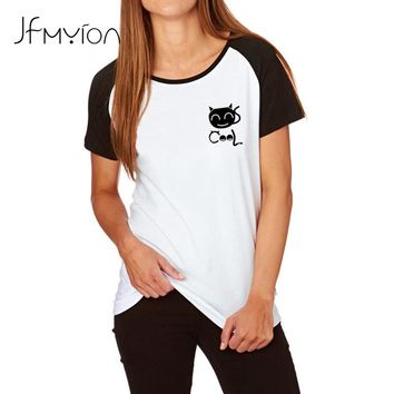 Cool Cat Pocket Print T shirts New Women T shirt Cotton Funny Casual Round Neck Shirt Lady White Black Top Tees
